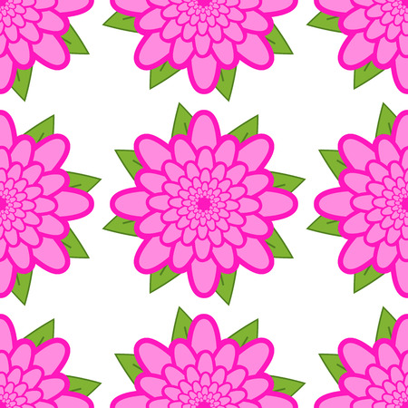 Seamless pattern of pink flowers with green leaves on a white background. Иллюстрация