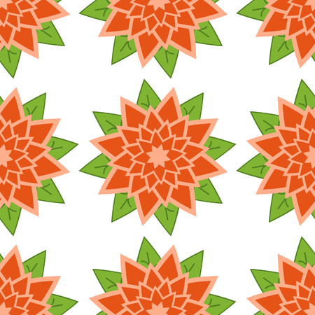 Seamless pattern of red-orange flowers with green leaves on a white background.