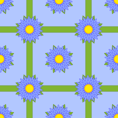 Seamless pattern of blue flowers with green ribbons on a light blue background.