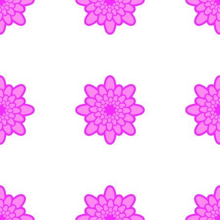 Seamless pattern of pink flowers on a white background.