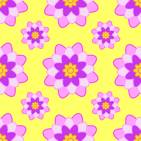 Seamless pattern from pink burgundy flowers on a yellow background.