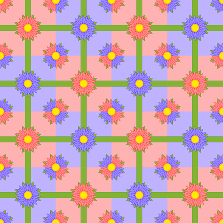 Seamless pattern of red and purple flowers with green ribbons on multi-colored squares. Illustration