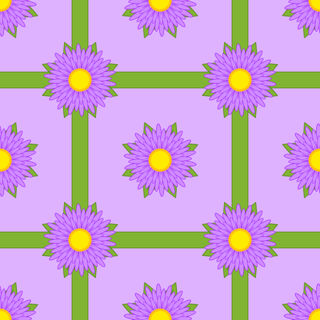 Seamless pattern of purple flowers with ribbons and leaves on a purple background.