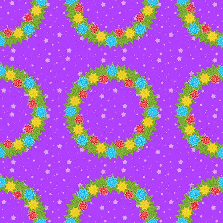 Christmas seamless pattern of wreaths on a purple background with stars.
