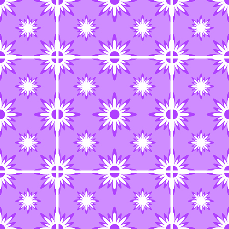 Abstract seamless pattern of white snowflakes on a purple background. Иллюстрация