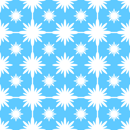 Abstract seamless pattern of white snowflakes on a blue background.