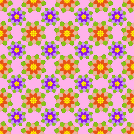 Seamless pattern of red and purple flowers with green leaves on a pink background.