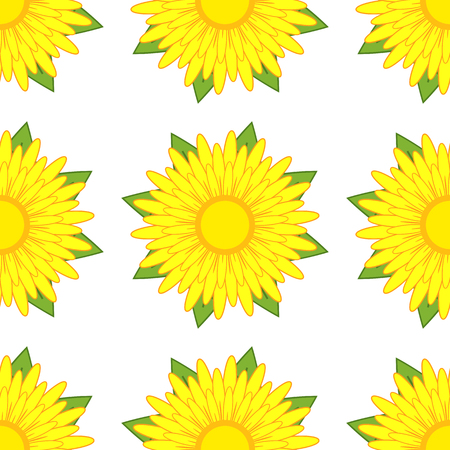 Seamless pattern of yellow flowers with green leaves on a white background.