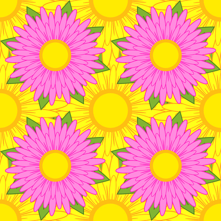Seamless pattern of pink flowers with green leaves on a background of yellow flowers.