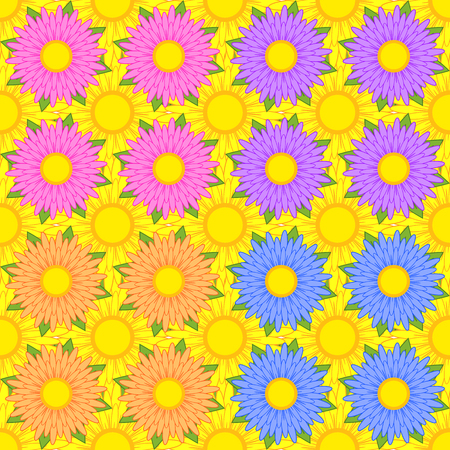 Set of seamless patterns of pink, purple, orange, blue flowers with green leaves on a background of yellow flowers. Ilustração