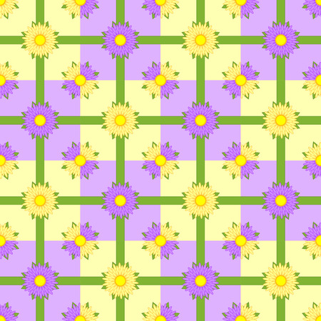 Seamless pattern of pink and purple flowers with green ribbons on a colored background. Иллюстрация