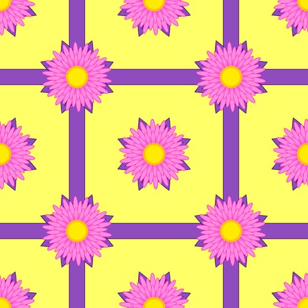 Seamless pattern of pink flowers with purple ribbons on a yellow background.