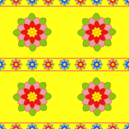 Seamless pattern of small and large red flowers with green leaves on a yellow background Ilustração