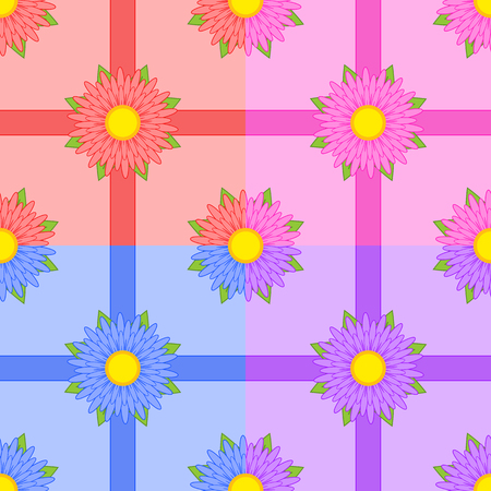 Set of seamless patterns of red, pink, blue, purple flowers with ribbons