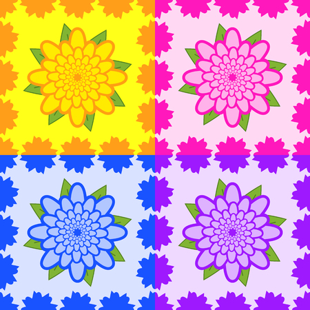 Set of seamless patterns from yellow, pink, blue, purple flowers with green leaves