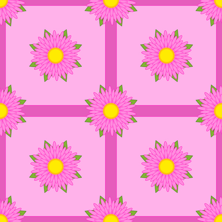 Seamless pattern of pink flowers with green leaves and ribbons on a light background