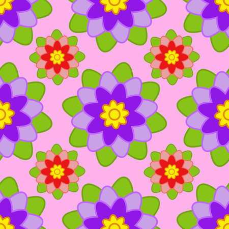 Seamless pattern of purple and red flowers with green leaves on a pink background