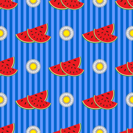 Seamless pattern of appetizing red watermelon slices and white flowers on a blue striped background Ilustração
