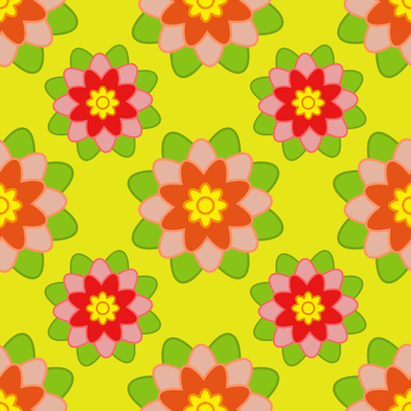 Seamless pattern of red and orange flowers with green leaves on a yellow background