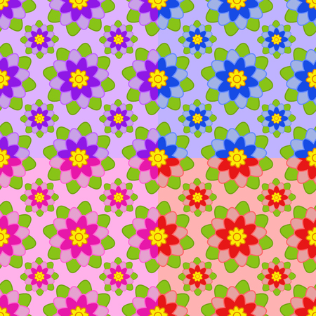 Set of seamless patterns from flowers of different colors pink, blue, orange, purple with green leaves