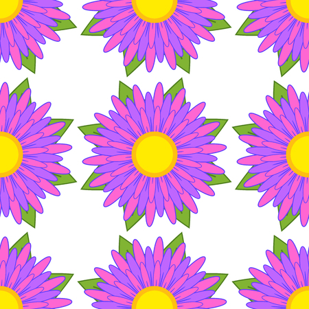 Seamless pattern of striped asters of purple with green leaves on a white background