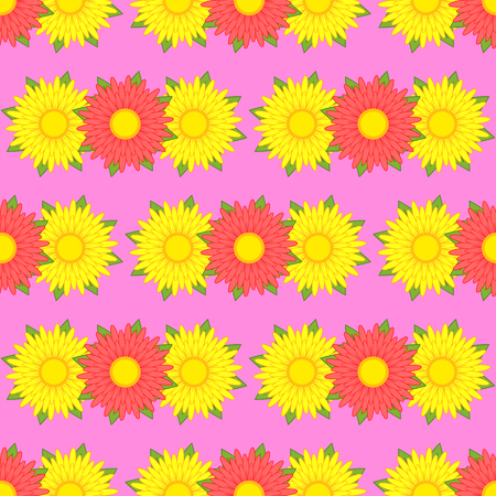 Seamless patterns of asters of yellow and red with green leaves on a pink background