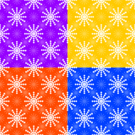 Set of seamless patterns from white snowflakes on purple, yellow, orange, blue background