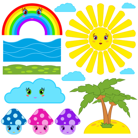 Set of isolated colored cartoon figurines of mushrooms, sun, clouds, rainbow, palm, grass, sand for design and decoration Illustration
