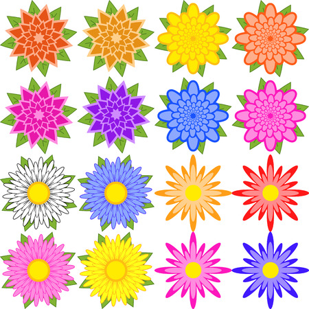Set of blue, red, yellow, white, pink, orange, purple flowers. Ilustrace