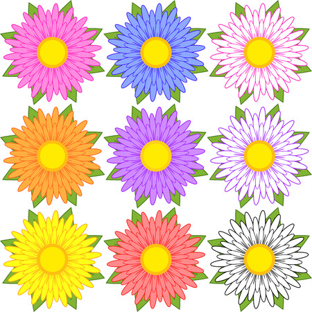 Set of blue, red, yellow, white, pink, orange, purple flowers. Иллюстрация