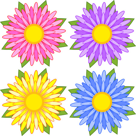Set of blue, red, yellow, purple striped flowers. Illustration