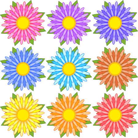 Set of blue, red, yellow, white, pink, orange, purple striped flowers.