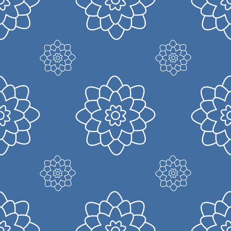Seamless pattern of abstract white flowers on a dark blue background Иллюстрация