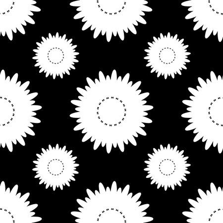 seamless black and white pattern of silhouettes of flowers