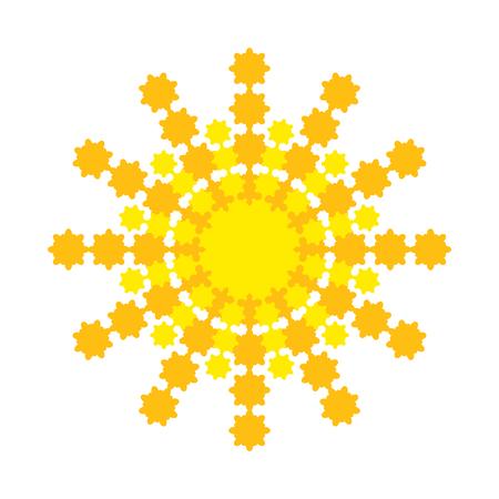 Bright abstract sun with yellow-orange rays Illusztráció