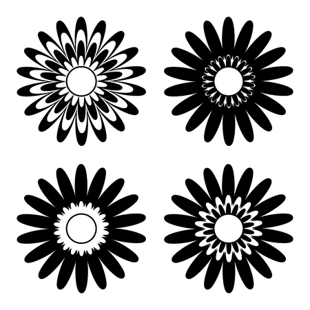 set of black and white isolated flower icons