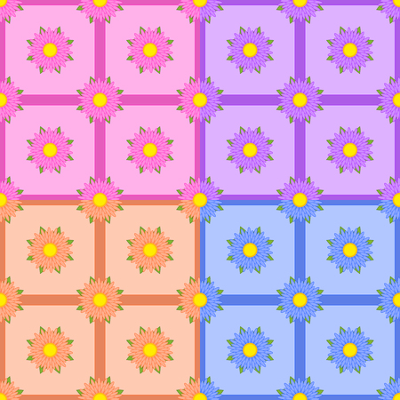 Set of seamless patterns of multicolored flowers with ribbons. Four types of design.