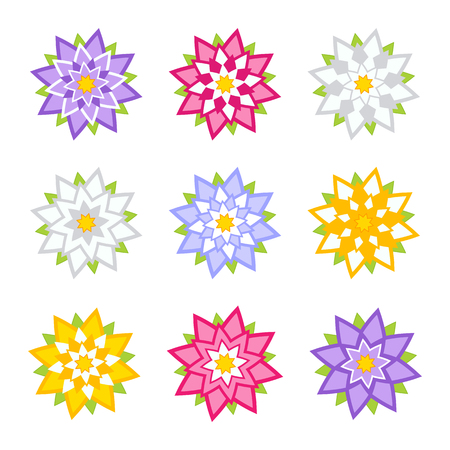 Set of flat colored abstract flowers isolated on white background. Simple design for decoration