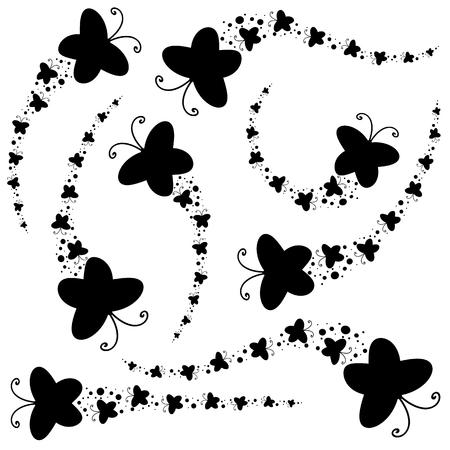 Set of black silhouettes. A flock of abstract cartoon butterflies flying one after another. Çizim