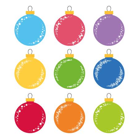 Set of flat colored isolated Christmas tree balls. 向量圖像