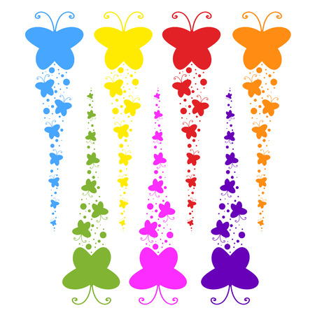 A flock of flat colored isolated butterflies flying one after another. Seven color options in the set.