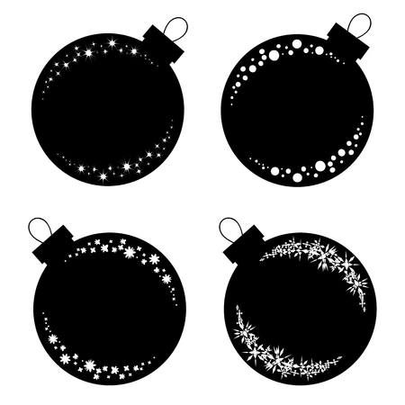 Set of flat isolated black and white silhouettes of Christmas toys balls on a white background