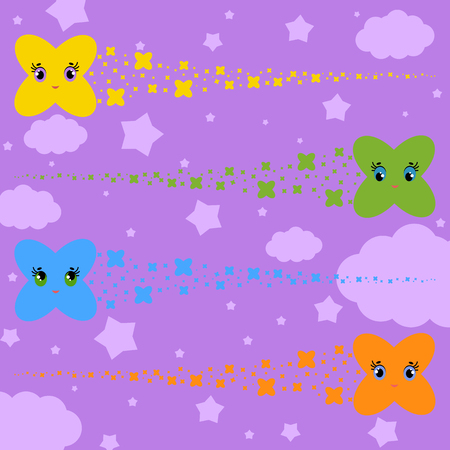 set of flat colored isolated stars of cartoons flying across the sky. Funny cute characters for decoration. Illustration