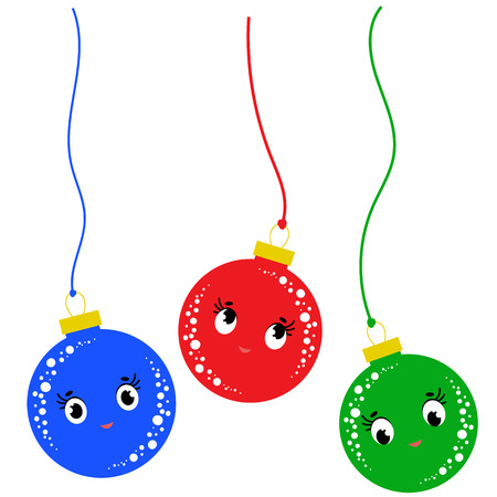 A set of three colored flat cartoon isolated Christmas ball falling down on white background Illustration