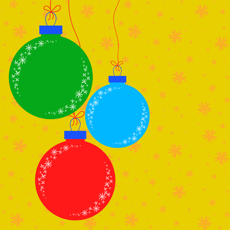 Flat colored set of isolated Christmas toys in the form of balls. Simple design for processing.