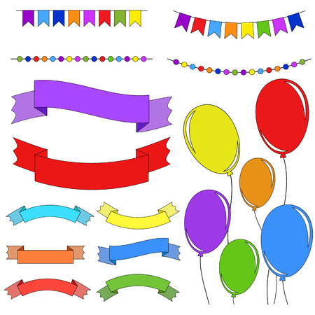 Set of flat colored isolated balloons on ropes. Set of garlands and ribbons of banners