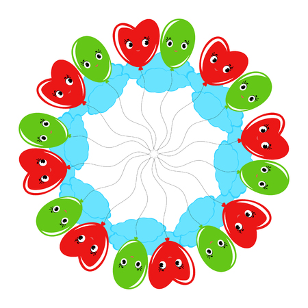 A round wreath of smiling balloons cartoon green and red. On a white background Illustration