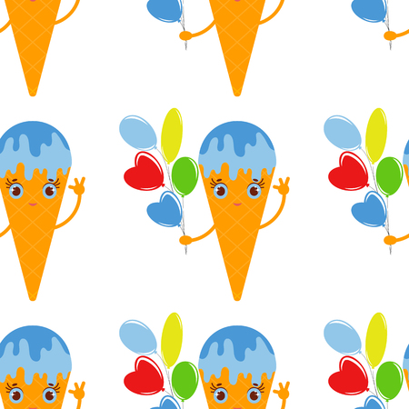 color seamless pattern of cartoon ice cream in a waffle Cup with a bunch of balloons in hand. Simple flat illustration on white background