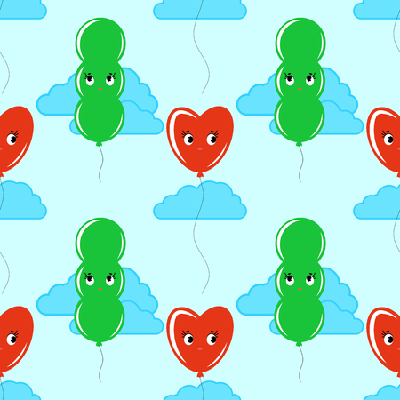 Color seamless pattern of cute smiling balloons on a blue background with clouds. Simple flat vector illustration. Suitable for Wallpaper, fabric, wrapping paper, covers.