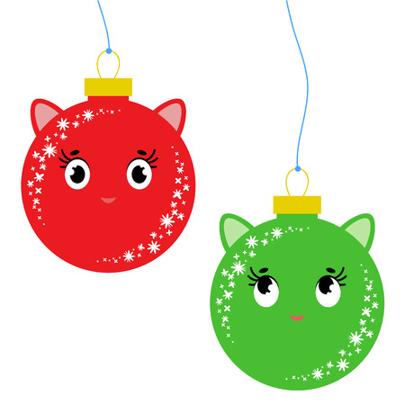 Set of flat colored isolated toys of toms with ears. Simple design for decoration. On a white background. Ilustração Vetorial